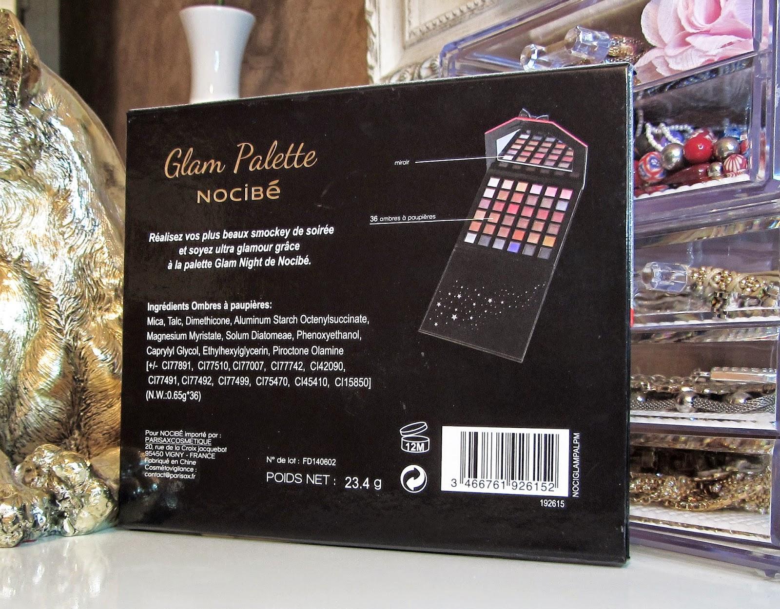 Palette glam night de nocib for Miroir nocibe