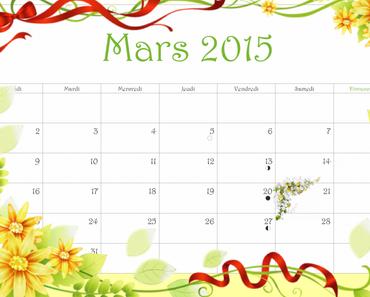 ✰ Calendrier gratuit à imprimer Mars 2015 ✰