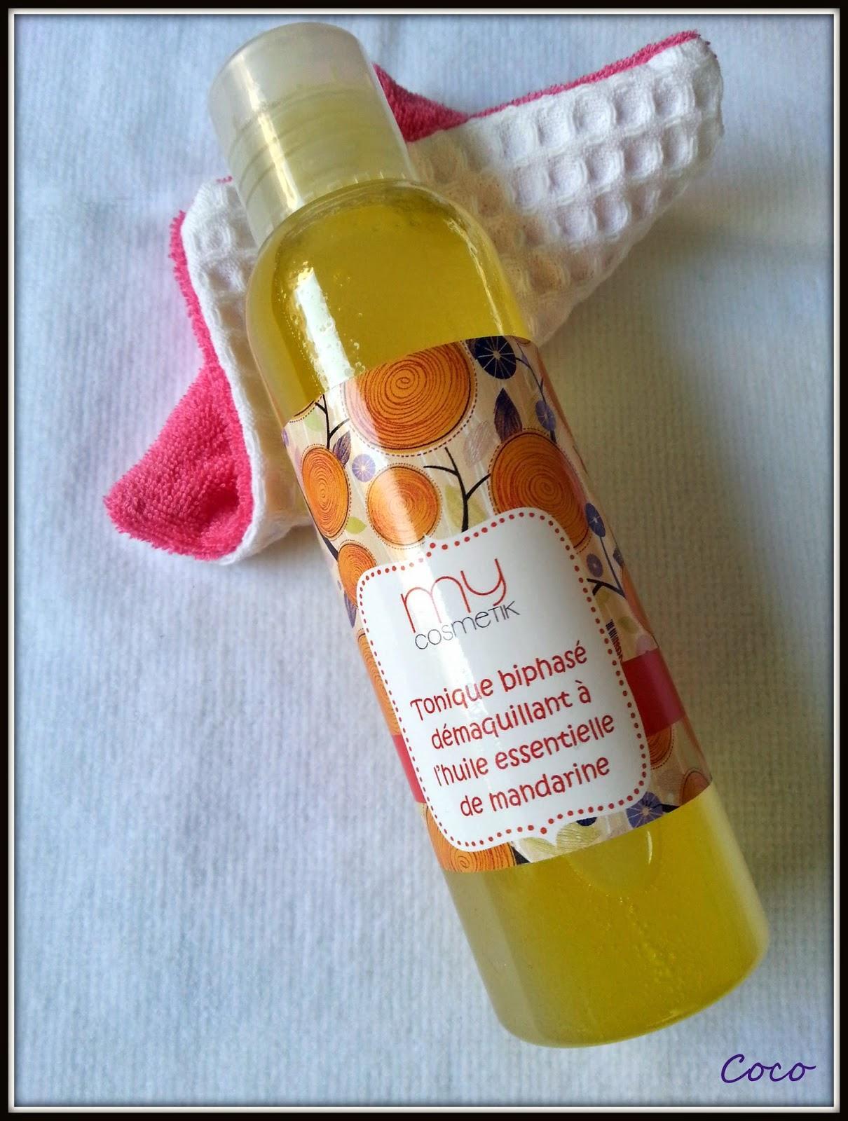 Test du Biphasé à l'huile essentielle de mandarine  MyCosmetik