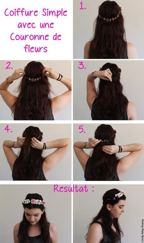 Tuto : coiffure facile avec une couronne de fleurs