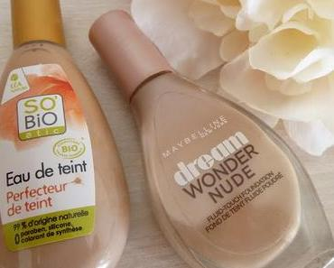 Duel teint parfait  : Eau de teint So'bio Etic  VS  Dream Wonder Nude Maybelline