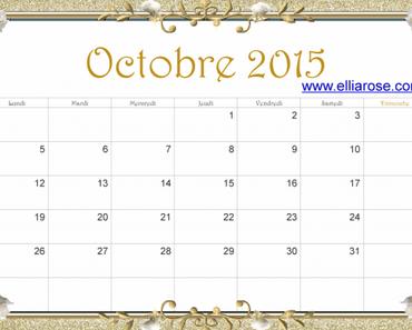 ✰ Calendrier gratuit à imprimer Octobre 2015 ✰