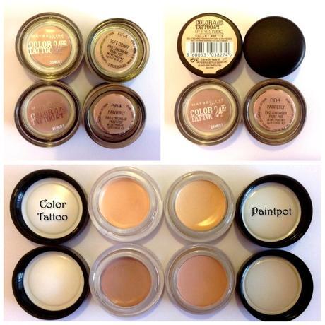 Paint pot de mac vs color tattoo de maybelline for Maybelline color tattoo creme de nude