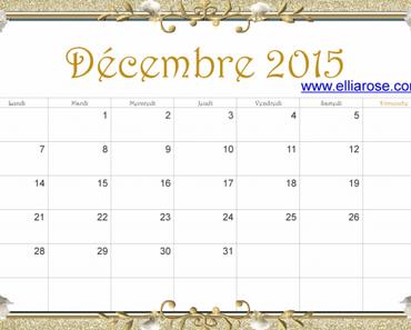 ✰ Calendrier gratuit à imprimer Décembre 2015 ✰