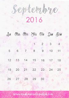 Le calendrier septembre 2016 à télécharger - Freebie