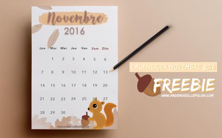 Calendrier novembre 2016 - Freebie