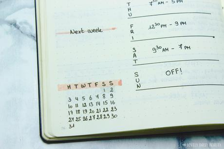 Bullet Journal Weekly Layout 📖| Work Schedule & To Do List