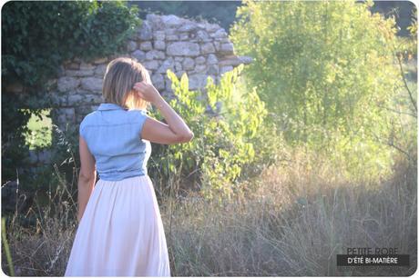 Robe bi-matière d'été : denim et satin