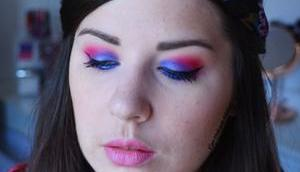 Blue Pink ELECTRIC Makeup {Huda Beauty}
